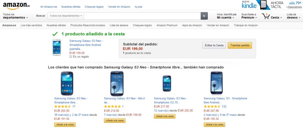 Ejemplo UpSelling Amazon