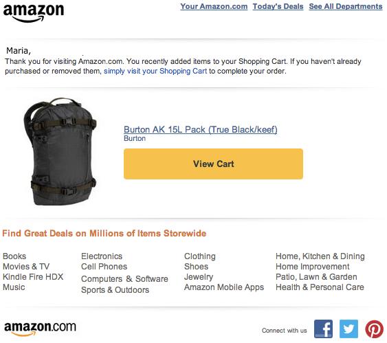 Ejemplo email marketing Amazon
