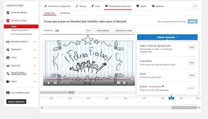 Pantalla final vídeo YouTube Posizionate