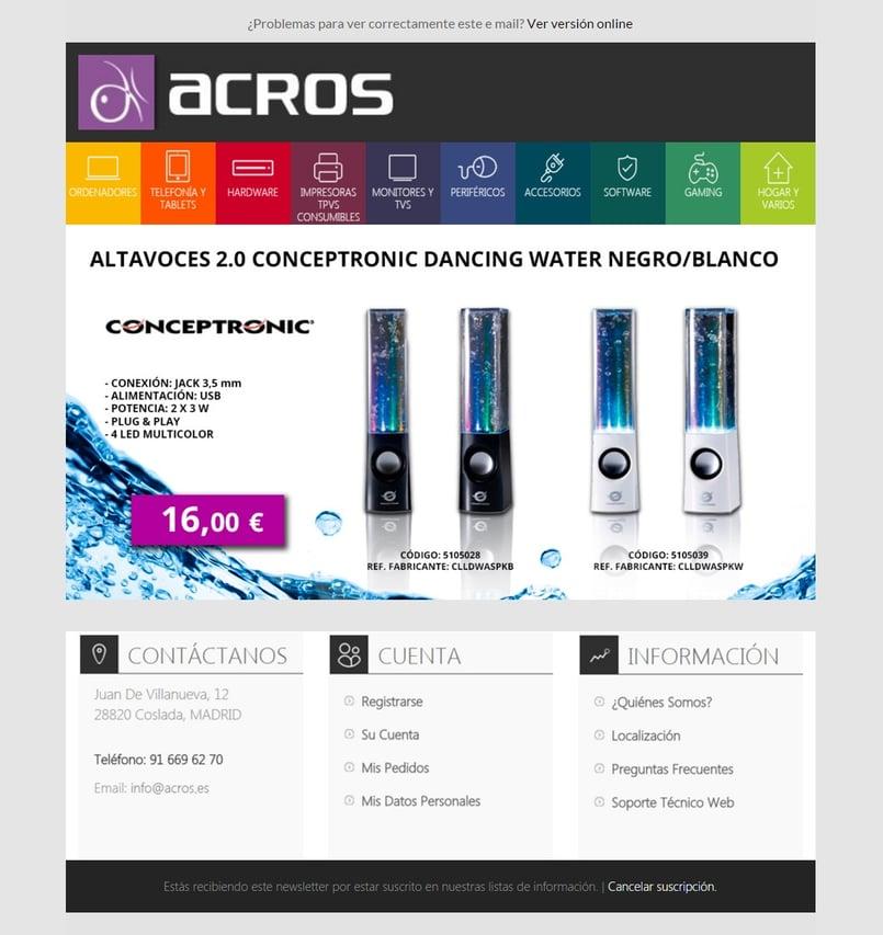 Ejemplo de campaña de Email Marketing de ACROS