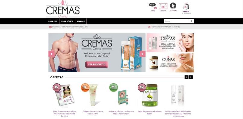 Página web de Cremas Online